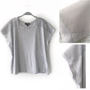 Forever 21 Gray Cotton and Mesh Tee